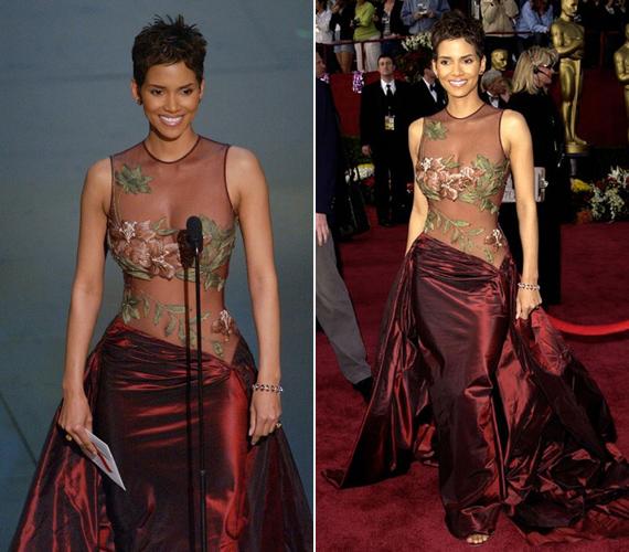 A 2002-es Oscar-díjátadón viselte ezt a ruhát. A Szörnyek keringőjéért meg is szerezte a legjobb színésznőnek járó aranyszobrocskát, és nem volt ember, aki ne a ruhájáról beszélt volna aznap este - csak egy kis hímzett minta takarta a híresség melleit.