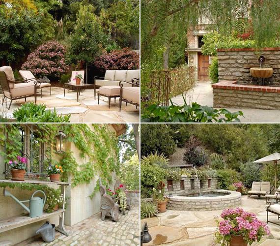 A lakberendező szemmel láthatóan nemcsak a lakásra, de a kertre is hangsúlyt helyezett - szökőkutak és virágok díszítik a teraszt és az udvart.