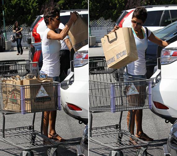 Megpakolt szatyrokkal tért vissza kocsijához, melyeket a csomagtartóba pakolt.