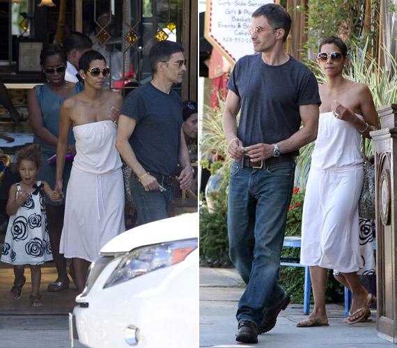 Miután kislányát átöltöztette egy bájos, fekete-fehér mintás ruhába, kedvesével együtt indultak vásárolgatni Los Angelesben.