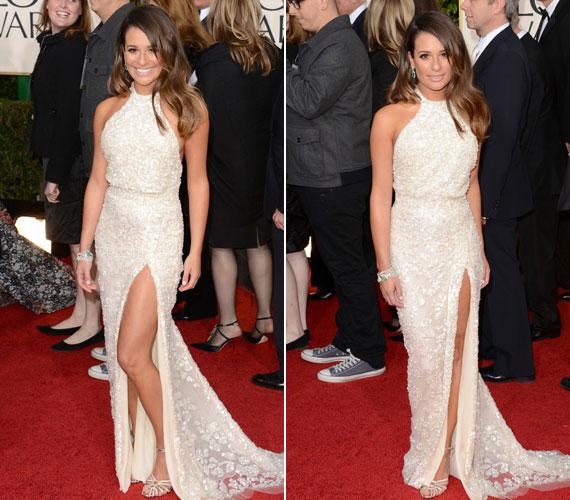 Lea Michele gyöngyházfényű Elie Saab estélyije egy szép, de átlagos darab maradt volna, ha a Glee sztárja nem mutatja meg csodás lábát.