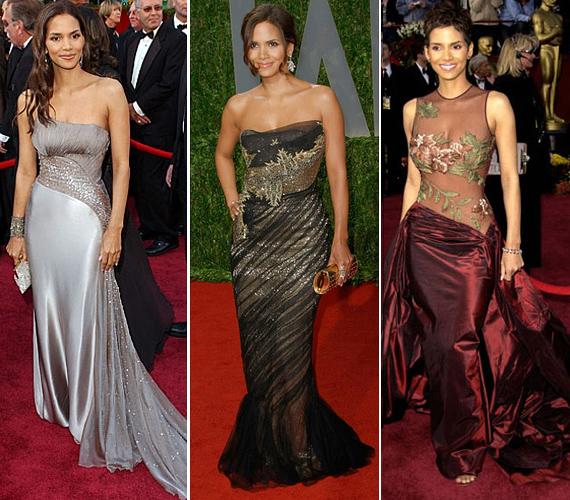 2002-ben, amikor Oscar-díjat nyert, Halle egy áttetsző Elie Saab ruhát viselt, de 2007-ben az ezüstszínű Versace estélyiben és az arany-fekete Marchesa ruhában is csodásan festett.