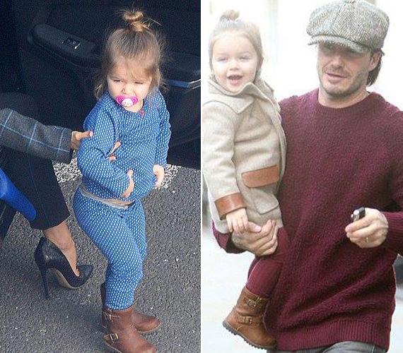 Harper Beckham édesanyja közelében nem, míg apja karjaiban egyfolytában viháncol.