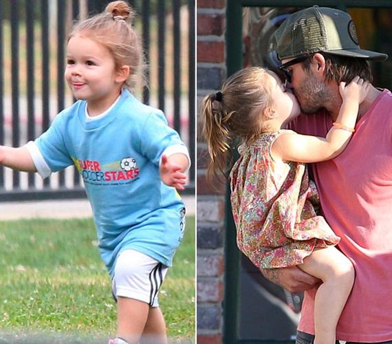 Harper Beckham és édesapja imádják egymást, a kislány boldogan fut David Beckham ölébe.