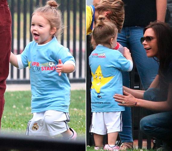 A divattervezőként is sikeres Victoria Beckham a pálya széléről bíztatta a kislányt.