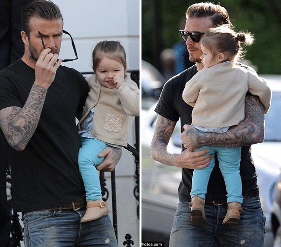 Apja lánya igazi harmóniában vannak, a sztárfocista szorosan öleli magához a kicsit.