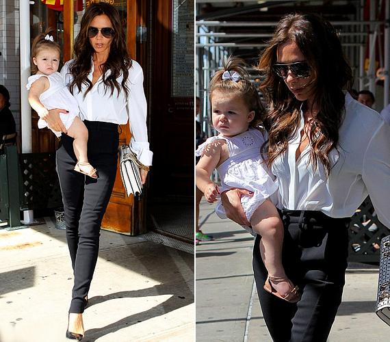 Szintén szeptemberben New Yorkban kapták le őket. A meleg őszi napon nyárias szerelést választottak: Victoria fekete nadrágot viselt fehér blúzzal, az egyetlen Beckham-lány pedig fehér ruhácskát szandállal.