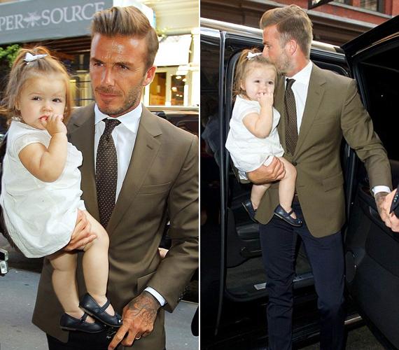 Olykor apja, David Beckham viszi a karján a divatos sztárcsemetét.