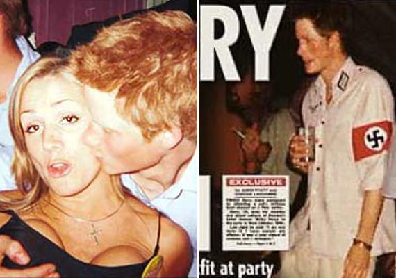 Harry herceg 2005-ben, 20 évesen nagyon túllőtt a célon, amikor náci katonának öltözve érkezett egy jelmezbállal kombinált születésnapi buliba. A másik képen a herceg egy sztriptíztáncosnő mellét markolássza.