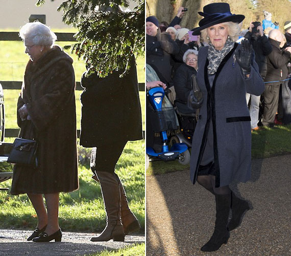 A királynő egy meleg, prémes kabátba burkolózott, menye, Kamilla pedig egy, a ruhájához illő, királykék kabátot viselt.