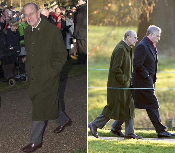 Fülöp edinburgh-i herceg, akinek egészségéért sokat aggódtak a családtagok és az alattvalók, a fia, András herceg oldalán maga is gyalog sétált el a templomig.