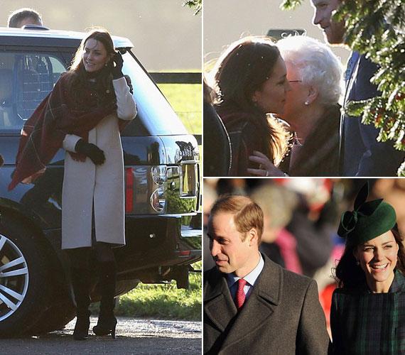 Katalin hercegné egy térdig érő, bézs kabátban és széles, kockás sálban érkezett. A királynő csókkal köszöntötte. Kate aztán a templomba menet már másik ruhát viselt.