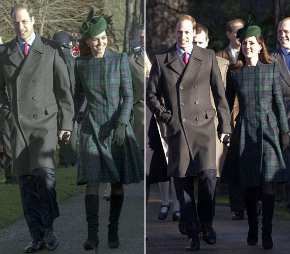 Kézen fogva férjével Katalin egy kockás, Alexander McQueen által tervezett kabátban és színben hozzá passzoló zöld kalapban sétált a templomig.