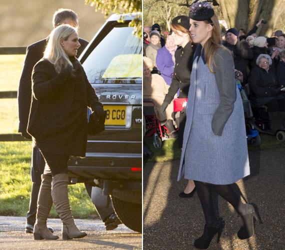 Természetesen Erzsébet királynő többi unokája sem hiányzott az istentiszteletről: a nyolc hónapos terhes Zara férjével tette tiszteletét, Beatrice és Eugenie hercegnő egymás oldalán sétáltak.