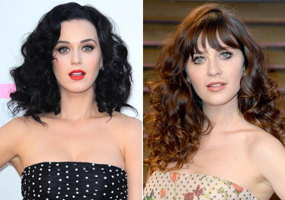 Katy Perry és Zooey DeschanelAz énekesnő és az Új lány sztárja megszólalásig hasonlít egymásra.