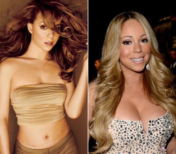 Úgy tűnik, Mariah Carey sem volt megelégedve a külsejével, hatalmas kebleket csináltatott magának.