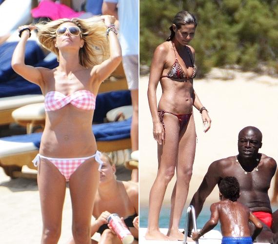 A rózsaszín, pánt nélküli bikini szemmel láthatóan nem tartja jól a melleit, de a piros mintás, afrikai stílusú modell nagyon csinosan fest rajta.