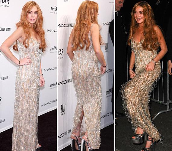 Lindsay Lohan ezúttal nem rendezett botrányt, sőt, egészen visszafogott volt. Apró gyöngyökkel díszített, retró stílusú ruhájában láthatóan dívaként igyekezett tündökölni.