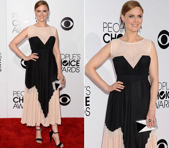 A Dr. Csont sztárja, Emily Deschanel egy fekete-halványbarack rakott ruhát választott.
