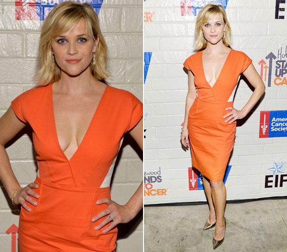 Reese Witherspoon a narancsszínű Roland Mouret darabban megmutatta, hogy alakját a 2012 szeptemberében született harmadik gyereke után is formába hozta - ő is leginkább a dekoltázsával hódított.