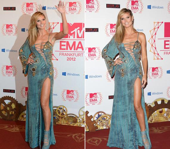 Ki gondolná, hogy Heidi Klum már négygyermekes anyuka? Alakja még így is csodásan mutat a kék és arany mintás Versace estélyiben.