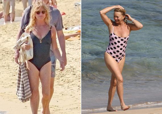 A szintén 70 éves Goldie Hawn néhány hónapja egy görögországi tengerparton villantotta meg még mindig formás idomait ezekben az egyrészes fürdőruhákban.