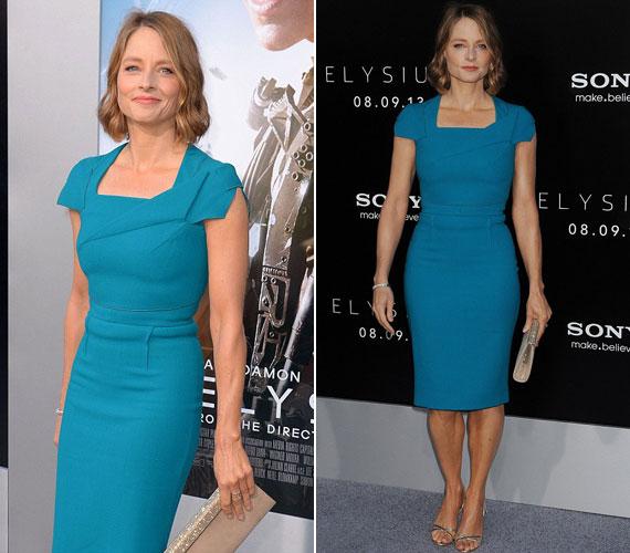 Az 52 éves Jodie Foster ugyan nem vetkőzött fürdőruhára, de Elysium című filmjének 2013. augusztus 9-i premierjén mindenkit lenyűgözött a testhezálló Roland Mouret kreációban.