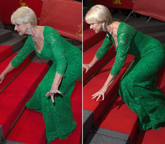 Helen Mirren a berlini filmfesztiválon esett el, de miután felsegítették, úgy csinált, mintha semmi sem történt volna.