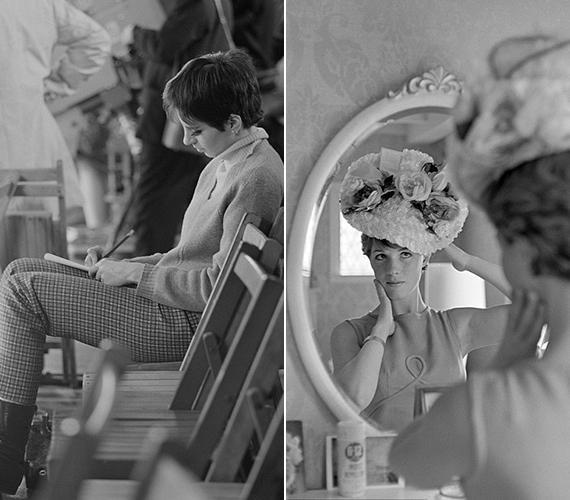 A bal oldali fotó 1966-ban készült az akkor 20 éves Liza Minnelliről, aki a londoni lóversenypályán írt levelet egyik barátjának. A jobb oldali fotón a most 80 éves Julie Andrews látható.