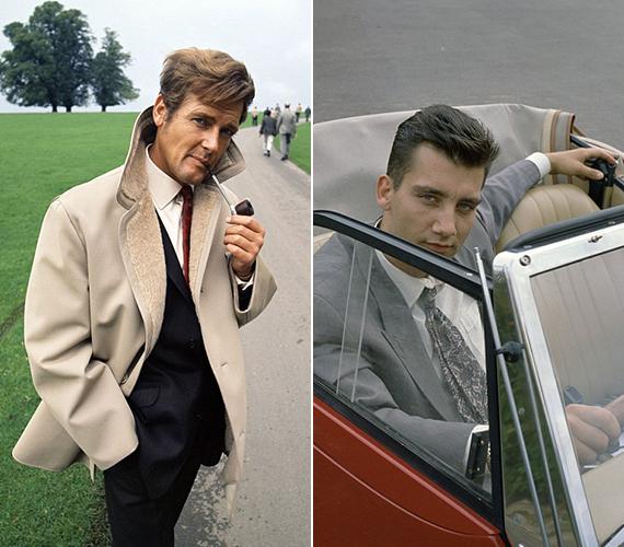 Egyik sármosabb, mint a másik! A bal oldalon a pipázgató Roger Moore látható 1968-ban, míg a jobb oldalon Clive Owen szerepel, amint egy autóban pózol a kilencvenes években.