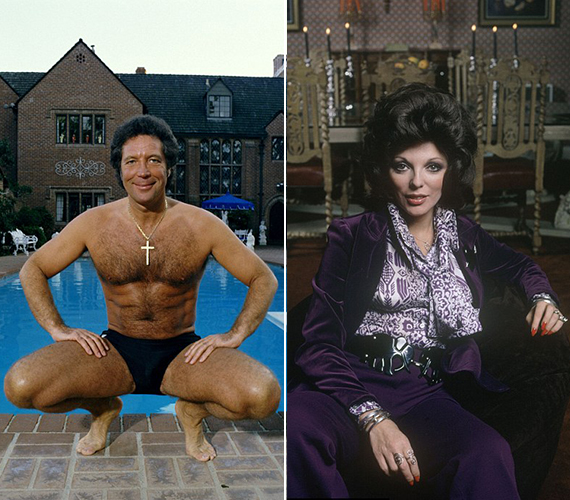 A bal oldalon látható fotó 1987-ben készült Tom Jonesról, aki ma már 76 éves is elmúlt. A jobb oldali kép pedig a '60-as évekből származik, Joan Collins lila szettben pózol rajta.