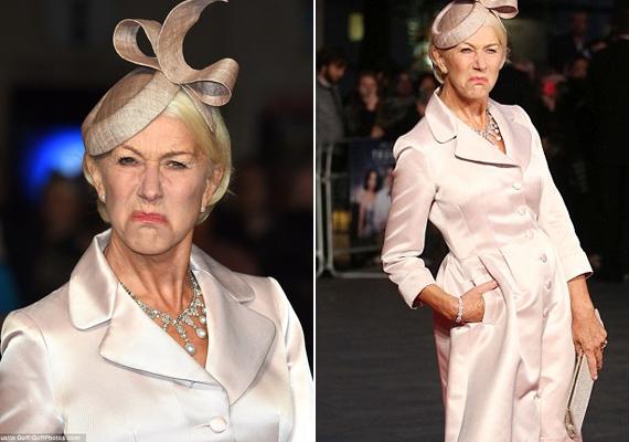 Helen Mirren láthatóan nagyon jókedvű volt, még vicces fintorokat is vágott a fotósoknak.