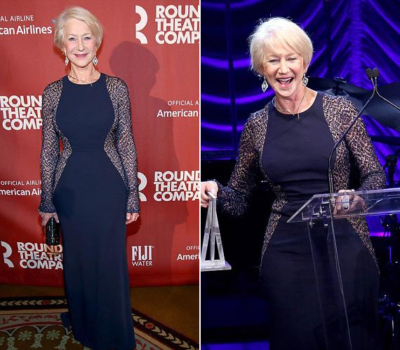 Helen Mirren hétfő este New Yorkban vett részt a Roundabout Színtársulat 2015-ös tavaszi gáláján a Waldorf Astoria Hotelben, ahol neki adományozták a Jason Robards díjat, kiemelkedő színházi teljesítményéért. A 69 éves színésznő csodásan nézett ki optikailag karcsúsító ruhájában, a fiatalok is megirigyelhetnék alakját.