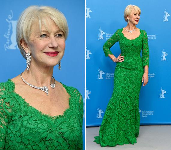 Február 9-én a Berlinálén kapták lencsevégre ebben az elbűvölő, zöld Dolce és Gabbana estélyiben, a Woman in Gold sajtófotózásán.