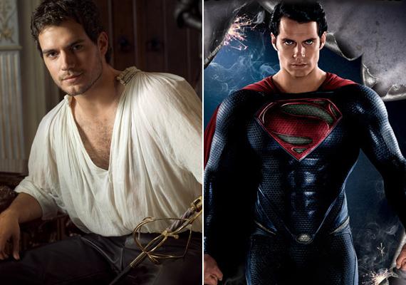 Cavill két leghíresebb szerepében, a Tudorok című nagysikerű sorozat Charles Brandonjaként és a legújabb Supermanként.