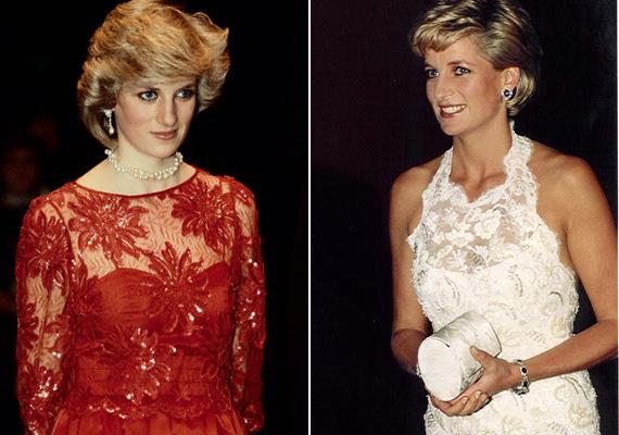 Diana hercegnő gyakorta hordott csipkeruhát, 1984-ban viselte ezt a lenyűgöző piros darabot egy balettelőadáson, a fehér ruhát pedig 1996-ban, a halála előtt néhány hónappal.