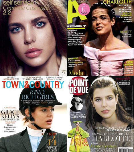 Charlotte Casiraghi                         A Grimaldi-ház tagja kiváló lovas, így sportmagazinok is szívesen kérik fel fotózásra. Legutóbb a Self Service-nek fotózta Mario Sorrenti, aki olyan sztárokat állított már gépe elé, mint Kate Moss, Scarlett Johansson vagy Anne Hathaway.