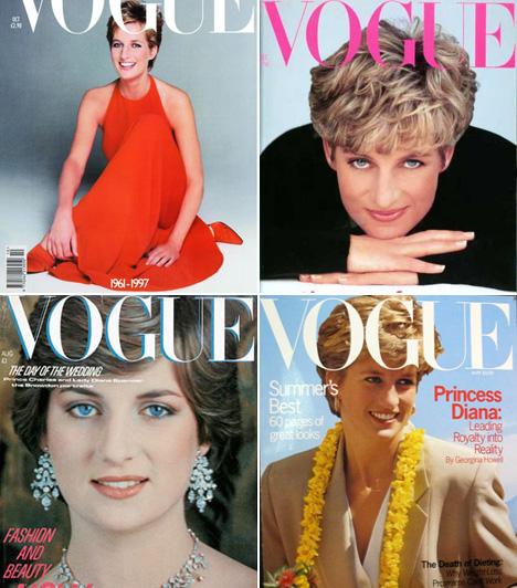 Diana hercegnő                         A tragikus autóbalesetben elhunyt Diana hercegnő a lesifotósokat nem szívlelte, ám a Vouge-nak többször is igent mondott. Az egyik leghíresebb címlapja Patrick Demarchelier-től származik, aki egy egyszerű, tűzpiros ruhában fotózta a padlón ülő hercegnőt. Ugyanilyen erőteljes az is, amelyiken fekete pulóverben, világító kék szemekkel néz a kamerába.                         Kapcsolódó cikk:                         Előkerült fotók! Diana hercegnő, ahogy eddig még nem látta a világ »