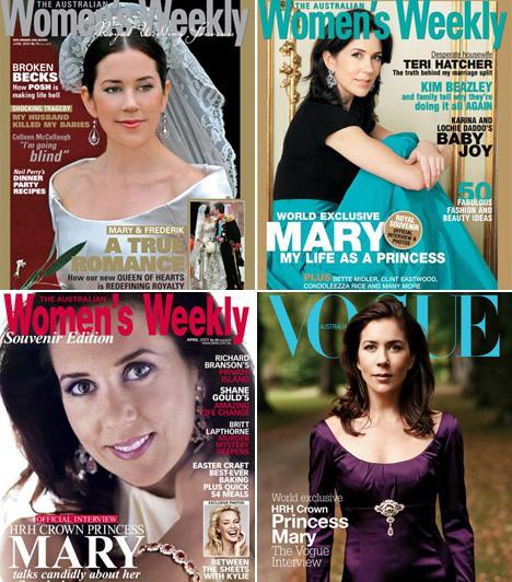 Mária dán hercegné                         Frigyes dán királyi herceg 2004. május 14-én vette feleségül a Koppenhágai székesegyházban. A Women´s Weekly már akkor a címlapján szerepeltette. Türkizszínű szoknyában is feltűnő jelenség volt. A Vouge 2004 decemberében egy igazi királyi fenséghez illő címlapfotót készített róla.