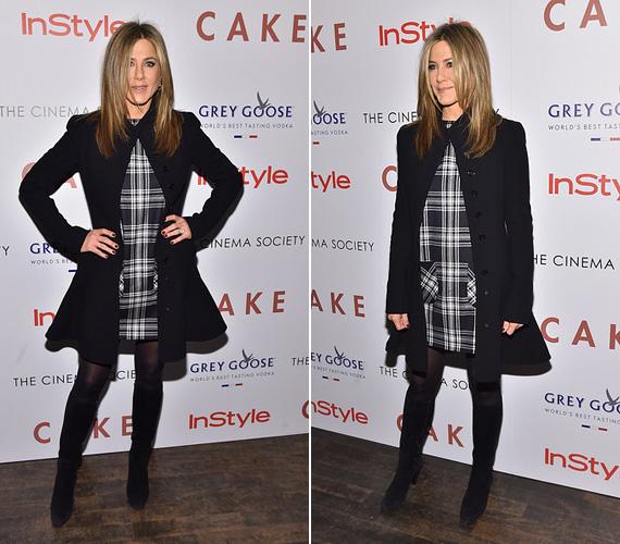 Jennifer Aniston filmjét, a Cake címűt vasárnap mutatták be New Yorkban, a 45 éves színésznő ebből az alkalomból egy kockás ruhát vett fel fekete kabáttal - ebben nem kellett aggódnia, hogy terhesnek nézik, mint már korábban többször történt, amikor túlságosan is feszes ruhában lépett a vörös szőnyegre.