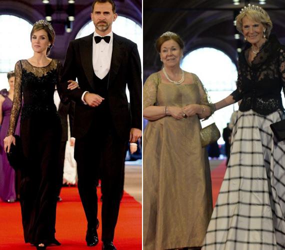 Krisztina holland hercegnő és Irene holland hercegnő egymás kezét fogva érkeztek meg. A bal oldali képen a spanyol trónörökös és felesége, Letizia.