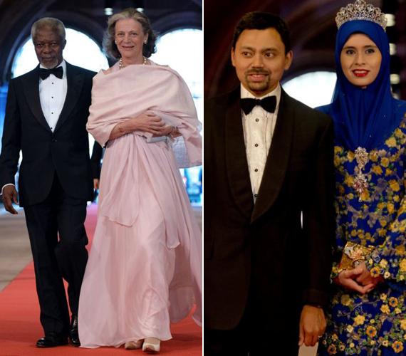 A bal oldali képen az ENSZ főtitkára, Kofi Annan és felesége, Nane Lagergren látható. A jobb oldalin Brunei koronahercege, Al-Muhtadee Billah és felesége, Sarah.