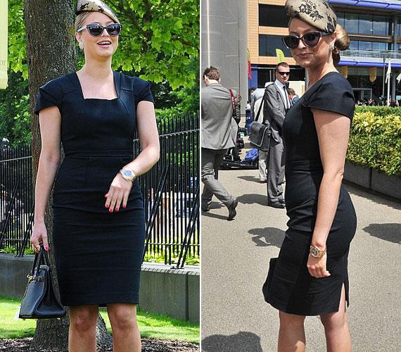 A testhez álló, fekete ruhába öltözött énekesnő áldásnak érzi a túlsúlyt, nem véletlen, hogy széles mosollyal az arcán pózol a fotósoknak.