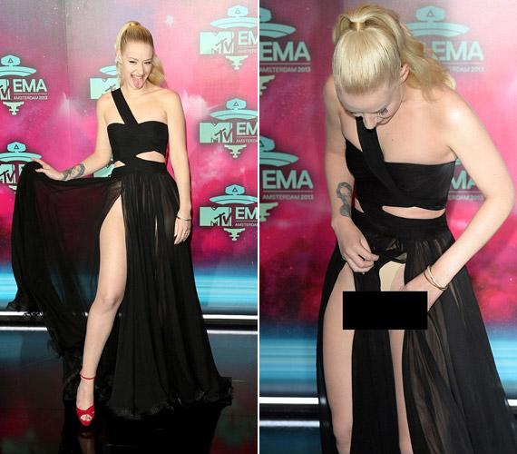 A ruha is elég merész volt, de azzal már tényleg átlépett egy határt, hogy még azt is megmutatta, ami alatta van.