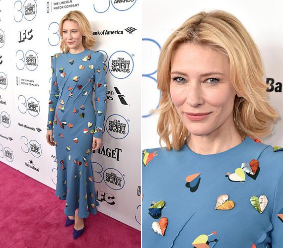 Cate Blanchett 45 éves, de bátran letagadhatna jó pár évet, ráadásul alakja három gyermek után is irigylésre méltó. A színésznő egy romantikus égszínkék ruhát választott a díjátadóra, melyre különféle színű szívek voltak applikálva.