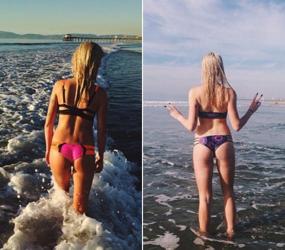 A fiatal lány a bikinis képeken mindig csak háttal fotóztatja magát.
