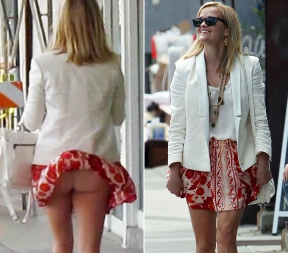 Reese Witherspoon szoknyája is a fotósok előtt adta meg magát.