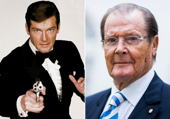 A 88 éves Roger Moore is modellként kezdte pályafutását, úgy mint George Lazenby, de ő hét alkalommal bújhatott a 007-es ügynök bőrébe. A James Bond-filmek után már nemigen alakított maradandót. 1991-től lett a UNICEF különleges nagykövete.