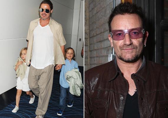 Angelina Jolie és Brad Pitt ikreinek a U2 frontembere, Bono a keresztapja.