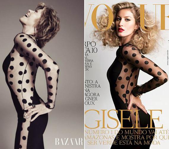Jane Fonda 74 évesen is bomba formában van. Nem csoda, ha az amerikai Harper's Bazaar az ominózus McCartney ruhában mutatta meg még mindig csodás alakját. Még a szuper testű brazil modell, Giselle Bündchen mellet sem kell szégyenkeznie.